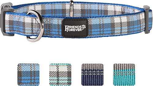 Friends Forever Plaid Dog Collar for Dogs, Fashion Woven Checkers Pattern, Cute Puppy Collar, Blue Large 18-26