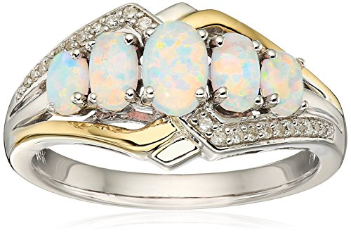 sg-sterling-silver-and-14k-yellow-five-stone-oval-created-opal-with-diamond-accent-ring-size-7