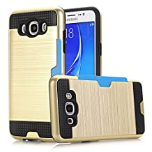 Galaxy J7 (2016) Case, NOKEA [Card Slots] [Dual Layer] [Shock Protection] [Anti-Scratches] Durable PC + TPU Premium Armor Hybrid Protective Case Cover for Samsung Galaxy J7 (2016) (Gold)