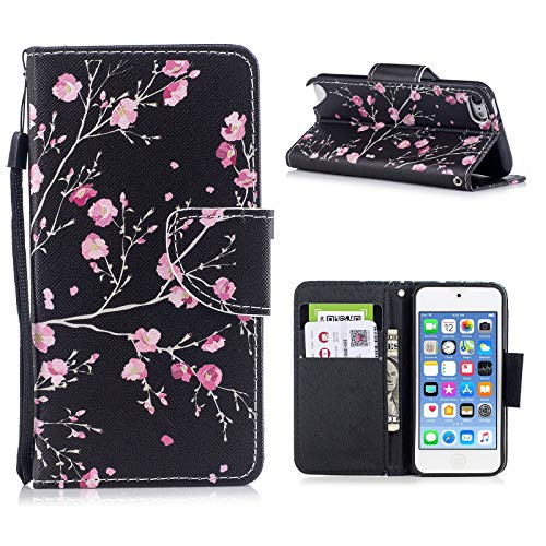 iPod Touch 5 Case, iPod Touch 6 Case - Techcircle Premium PU Leather Flip Wallet Case Card Holder Kickstand Shockproof Protective Case for Apple iPod Touch 5 6th Generation (4.0