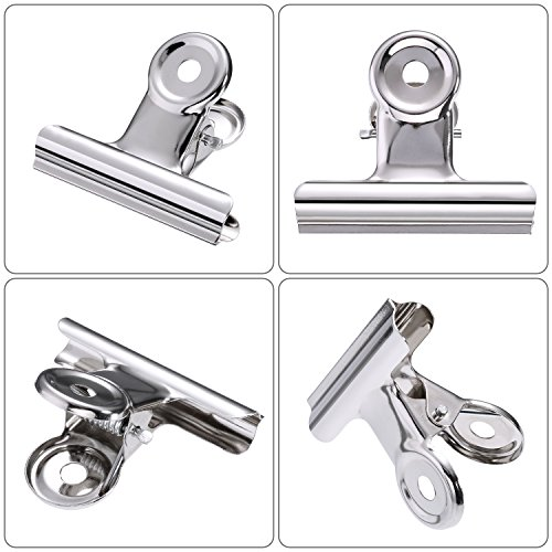 TecUnite 30 Pack Metal Hinge Clips, 2 inch Silver Chip Clip Hinge Clamp File Binder Clips for Home Office Supplies by TecUnite (Image #1)