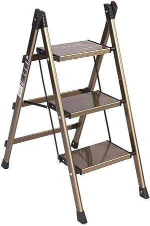 Zbm-zbm Escalera Plegable For El Hogar, Ultrafina Y Fácil De Interior Escalera De Aluminio De 2 Capas, 3 Escalones, Escalera De Aluminio, Soporte De Flores Pequeñas Taburete pequeño: Amazon.es: Hogar