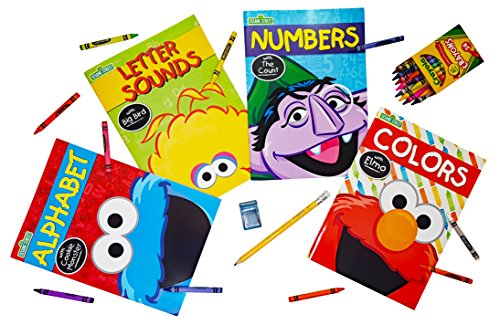 Sesame Street Workbooks Set of 4. (Alphabet, Numbers, Colors, & Letter Sounds). Plus Bonus 1 Box of Crayons and 1 Jumbo Pencil with 1 Sharpener (Color May Vary)