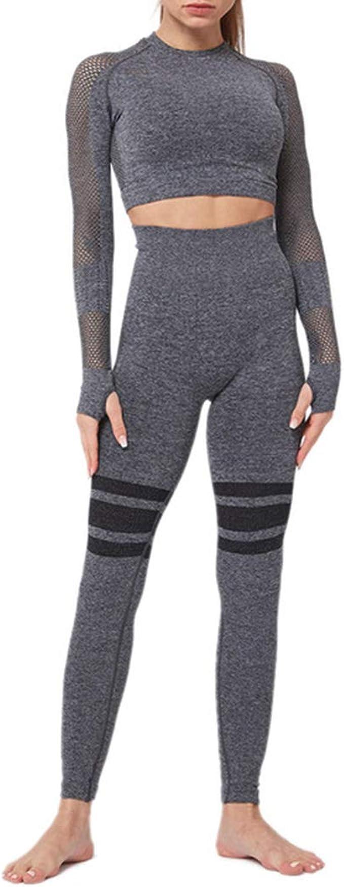 Damen Fitness Set Sport Zweiteiler Tanktop Leggings Glitzer Slim Stretch 36 S