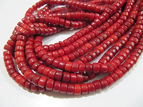 (Beautiful Tibetan Coral Plain Tyre Shape Plain Beads / Smooth Red Coral Beads 6 mm / Strand 16 inch long / Gemstone Beads- Wholesale Price)