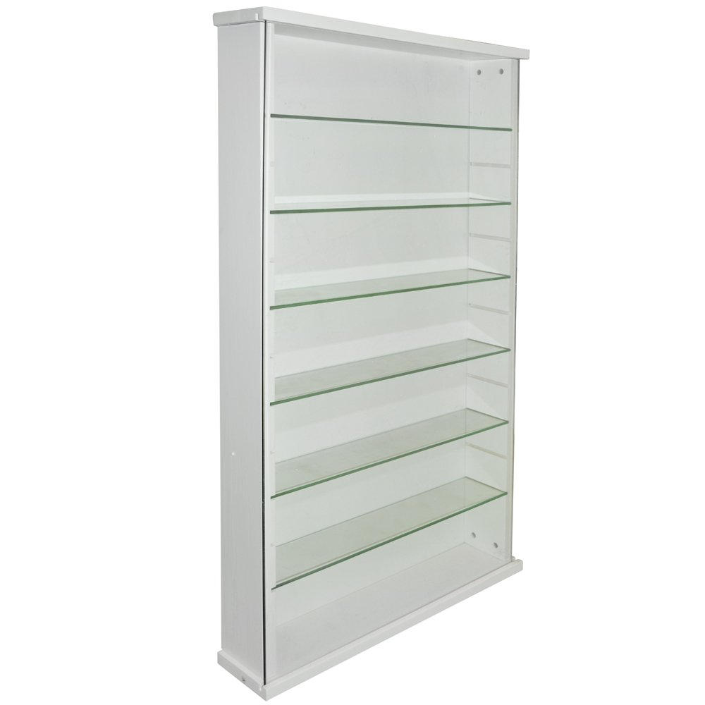WATSONS EXHIBIT - Solid Wood 6 Shelf Glass Wall Display Cabinet - White