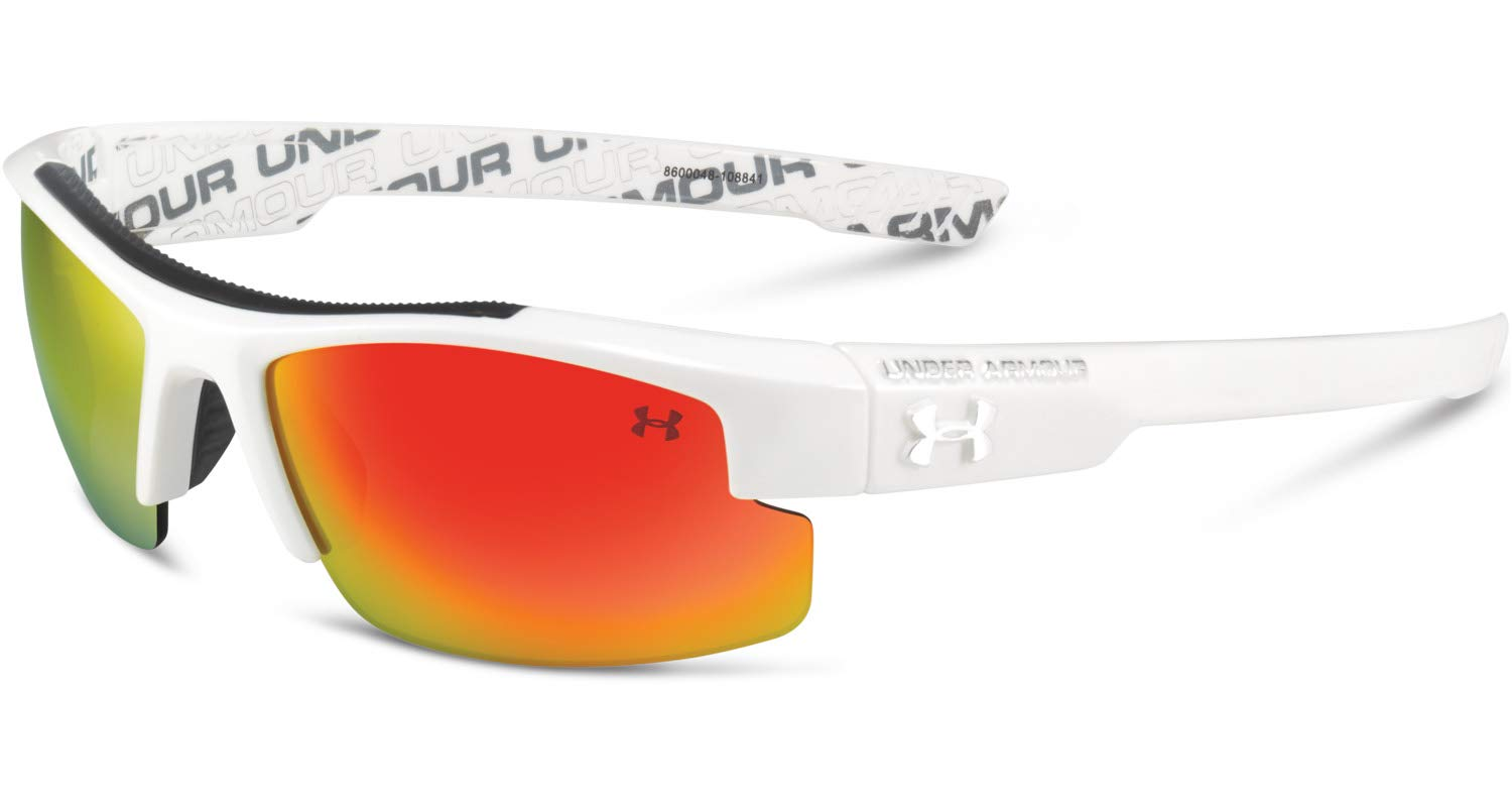 Under Armour Youth Nitro Sunglasses (White, Orange w/Multiflection) by Under Armour