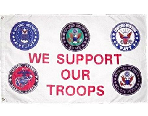 AES Support Our Troops 5 Branches Military Service 2x3 2'x3' Polyester Flag