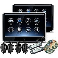 XTRONS 2 x 11.6 Inch Pair 19201080 HD Digital TFT IPS Touch Screen Car Headrest DVD Player with HDMI Port 1080P Video Games IR Headphones (HD121THD_Silverx2+DWH002x2)