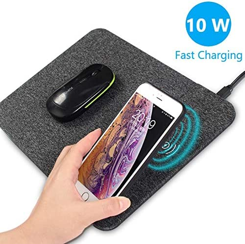 Portable PU Gaming Charging Mouse Pad Mat for Samsung Galaxy S8 AZZ Qi Fast Wireless Charger iPhone X//8