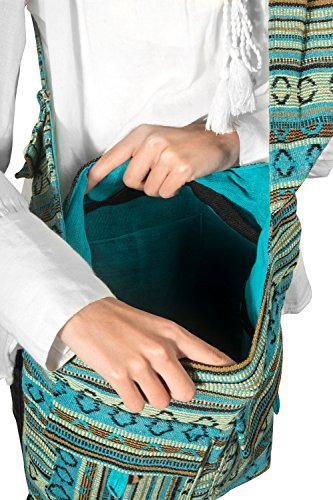 Tribe Azure Blue Aztec Canvas Large Hobo Cross body Shoulder Sling Slouch Casual Shopping Market Bag Photo #5