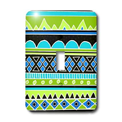 3dRose lsp/_112830/_1 Neon Tribal Fluorescent Green Yellow Electric Blue Black-Aztec Shapes Patterned Rows Art Single Toggle Switch Multicolor