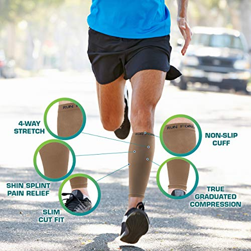 Calf Compression Sleeves - Leg Compression Socks for Runners, Shin Splint, Varicose Vein & Calf Pain Relief - Calf Guard Great for Running, Cycling, Maternity, Travel, Nurses