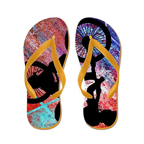 CafePress BMX On Rusty Grunge - Flip Flops, Funny Thong Sandals, Beach Sandals Orange
