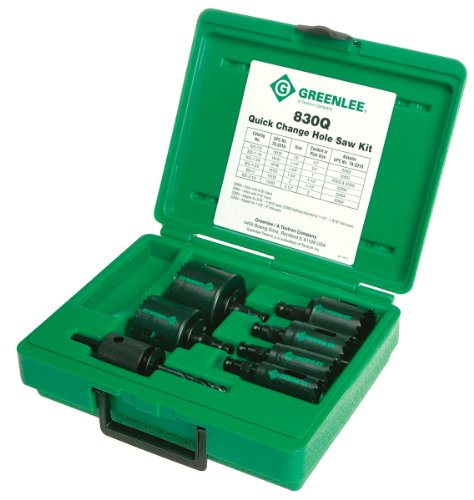"Greenlee 830Q Quick Change Bi-Metal Hole Saw Kit, 1/2"" Throu"