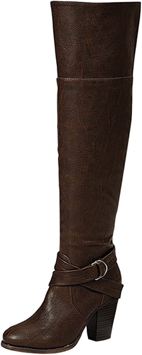 Breckelles Womens Strappy Over The Knee Chunky Stacked Heel Riding Boot