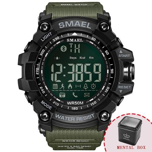 Kbj-accessory Digital Wristwatches Waterproof Black SMAEL Bluetooth Chronograph Electronic Watch - Army Green Box