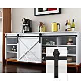6.6ft Cabinet Barn Door Hardware Kit- Mini Sliding Door Hardware - for Cabinet TV Stand Wardrobe - Simple and Easy to Install - Fit 40'' Wide Door Panel (Cabinet NOT Included) (Mini J Shape Hangers)