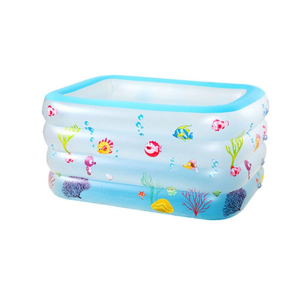 LQQGXL,Bath Large 4-layer square scrub inflatable baby swimming pool baby inflatable bathtub blue Inflatable bathtub