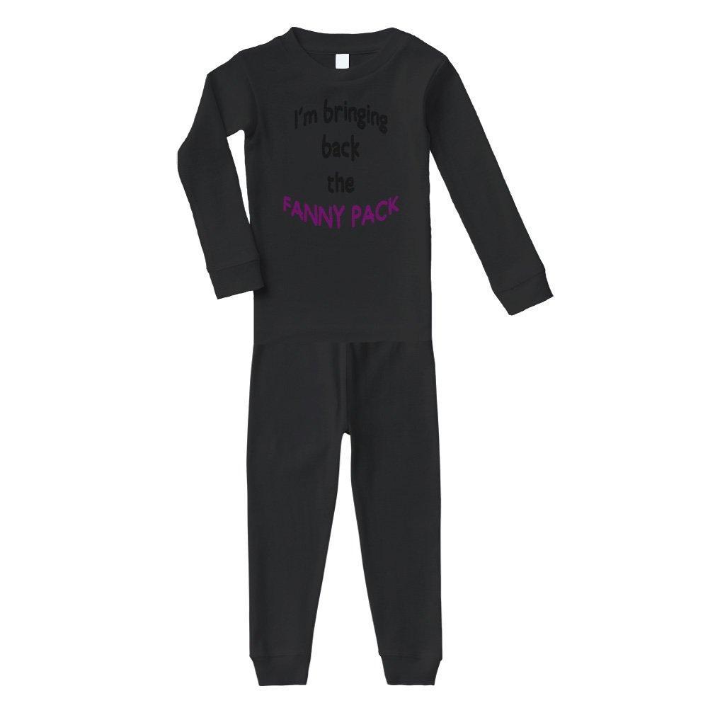 Black Text I'm Bringing Back Fanny Pack Cotton Long Sleeve Crewneck Unisex Infant Sleepwear Pajama 2 Pcs Set Top and Pant - Black, 24 Months