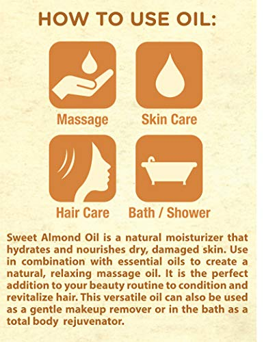 Horbaach Sweet Almond Oil 64 fl oz 100% Pure – for Hair, Face & Skin – Expeller Pressed – Vegetarian, Non-GMO by Horbäach (Image #5)