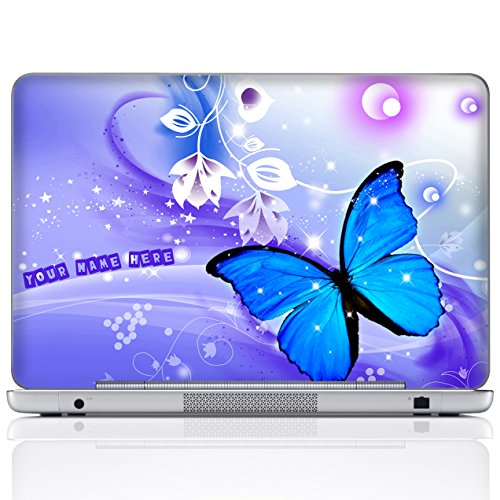 Meffort Inc Personalized Laptop Notebook Notebook Skin Sticker Cover Art Decal, Customize Your Name (15.6 Inch, Flyaway Butterflies)