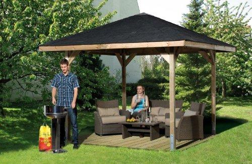 Gartenoase 651 - Ausführung: Gr. 2 ohne Dachschindeln, Schindel- bedarf: 6 Pkt, Bemaßung: Firsthöhe 286 cm, Traufhöhe 199 cm, Außenmaß: 333 x 333 cm