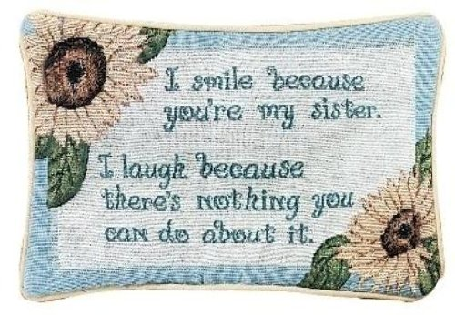 (Manual 12.5 x 8.5-Inch Decorative Throw Pillow, I Smile I Laugh/Sister)