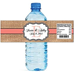 "100 Burlap Coral Stripe Monogram Wedding Water Bottle Labels Great for Engagement Bridal Shower Party 8""x2"""