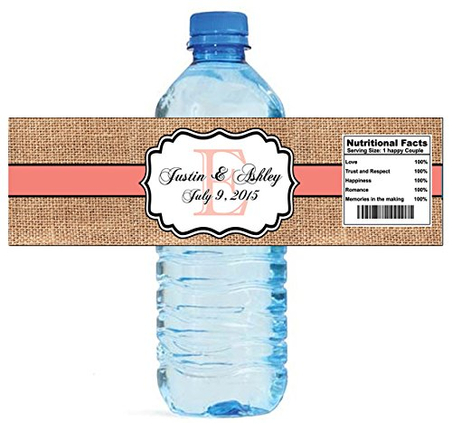 100 Burlap Coral Stripe Monogram Wedding Water Bottle Labels Great for Engagement Bridal Shower Party 8″x2″