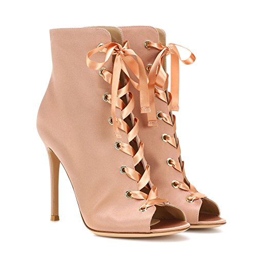Lutalica Women's Fashion Peep Toe Lace up high Heel Party Ankle Sandal Boots Pink Satin au00yw3Um
