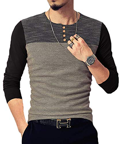 Neoyowo Mens Patchwork Shirt Long Sleeve Contrast Color T-Shirt Casual Stitching Buttons Henley Tops (Black, M)