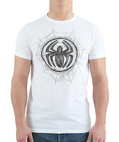 Marvel Spiderman Men's Spider-Man Graphite Web T-Shirt, White, X-Large