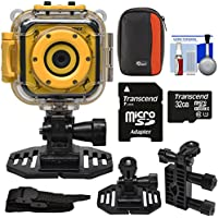 Precision Design K1 Kids HD Action Camera Camcorder (Yellow/Black) with Helmet & Handlebar Bike Mounts + 32GB Card + Case + Kit