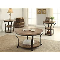 1PerfectChoice Geoff 3pcs Round Oak Black Coffee Table Set