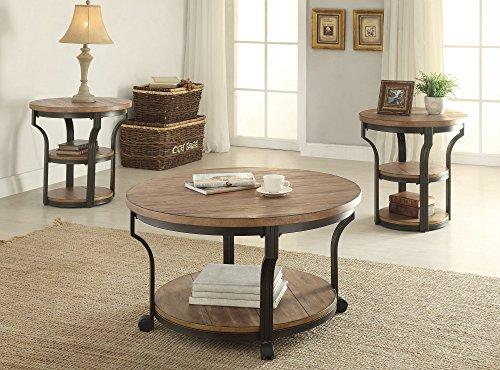 1PerfectChoice Geoff 3pcs Round Oak Black Coffee Table Set