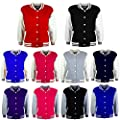 Kids Girls Boys Baseball Jacket Varsity Style Plain School Jackets Top 5-13 Year