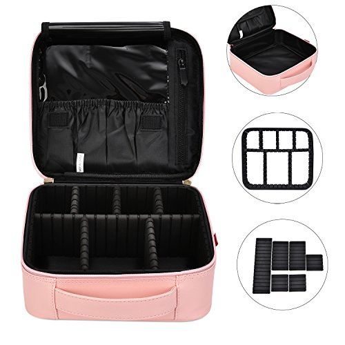 f050740cf43db NiceEbag Makeup Bag Travel Cosmetic Bag for Women Cute Makeup Case Large  Leather Cosmetic Train Case Organizer with Adjustable Dividers for  Cosmetics ...