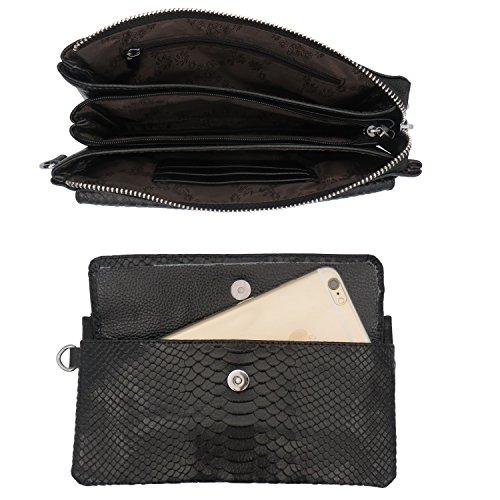 Shalwinn Women's Genuine Leather Crossbody Purse Shoulder bag Cellphone Pouch Purse Wristlet Wallet Clutch with Long Shoulder Strap and Wrist Strap
