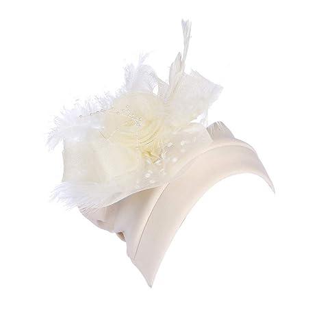 jgashf Mujer Sombreros de Vestir Sombrero Tocado Retro Clips de ...