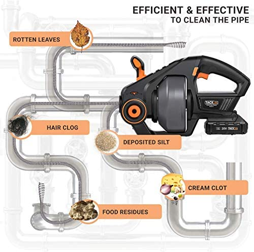 """TACKLIFE Drain Auger, Automatic Drain Snake 25Ft(7.6m), 20-Volt MAX Li-Ion, Perfect Plumbing Snake Power Tool, Cordless Drain Clog Remover for 3/4"""" to 3"""" Pipes, Replaceable Flexible Shaft - HGDDC1A"""