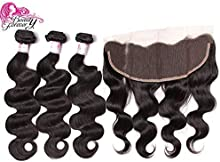 Beauty Forever Hair 8A Brazilian Body Wave 3 Bundles with 13×4 Ear to Ear Lace Frontal Closure, 100% Human Hair Extensions Hair Weave Weft, Natural Color,10 12 14+10 Lace Frontal