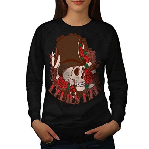Ladies Man Skull Romantic Gent Women M Sweatshirt | Wellcoda (Birds Of War Costume)