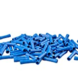 MUYI 100 Pcs Butt Splice Connectors 16-14 AWG Vinyl Insulated PVC Crimp Wire Terminal (Blue)