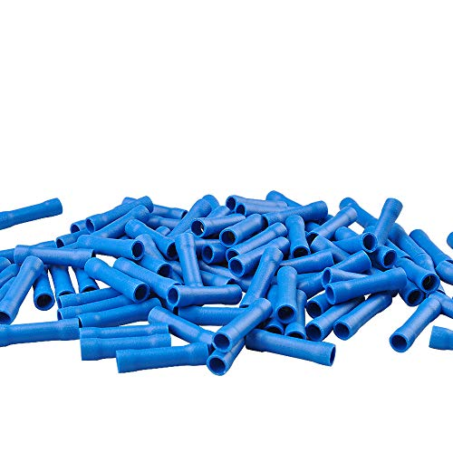 MUYI 100 Pcs Butt Splice Connectors 16-14 AWG Vinyl Insulated PVC Crimp Wire Terminal (Blue)