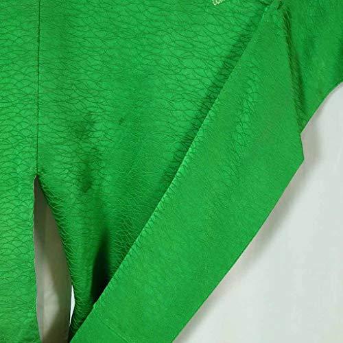 リサイクル訪問着 / 正絹グリーン地絞り袷訪問着着物 / レディース【裄Lサイズ】(古着 リサイクル着物 リサイクル品)【ランクB】