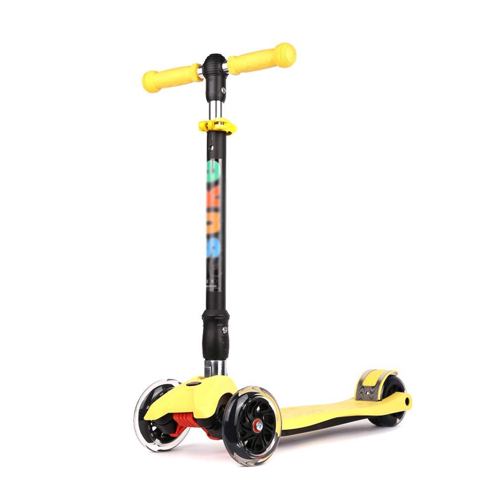 YXX- スクーター キック、調節可能な高さ、滑り止めペダル、折りたたみ式デザイン、収納が簡単な子供用フラッシュスクーター (色 : Green, サイズ さいず : 4 Wheels) B07MFJJ3DQ 4 Wheels|イエロー いえろ゜ イエロー いえろ゜ 4 Wheels