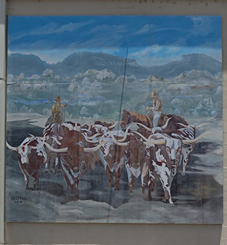 18 x 24 Art Canvas Print of Mural reflecting on the profitable drives of cattle up to Kansas that fueled the rise in longhorn cattle ranching in the area. Painted on the wall of a lumber company in In - Drive Mural