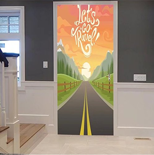 scocici1588 3d Door Wall Mural Wallpaper Stickers-highway drive with beautiful sunrise landscap For Room Decor 30x79