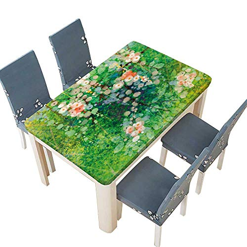 Grace Garden Bar Table - PINAFORE Spring & Summer Outdoor Tablecloth, Apple Blossoms on Grass with Splashes Grace Sign Nature Print Pink Green Multicolor W41 x L80.5 INCH (Elastic Edge)